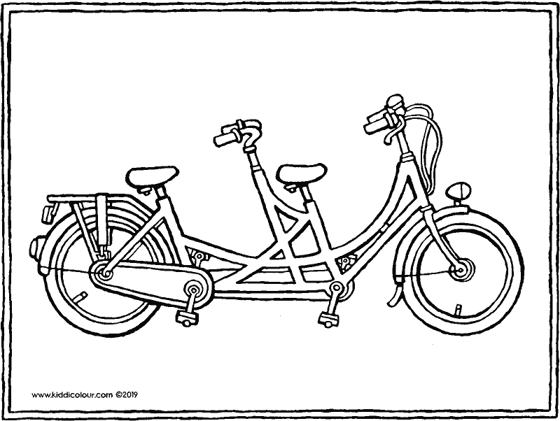 tandem colouring page drawing picture 01k