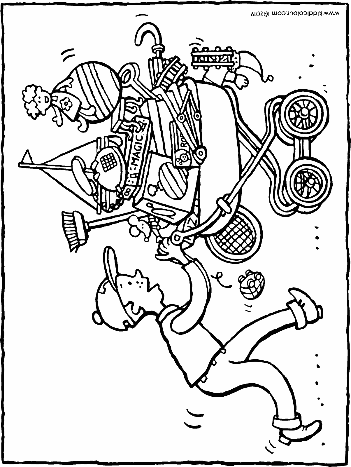 to the flea market colouring page drawing picture 01H