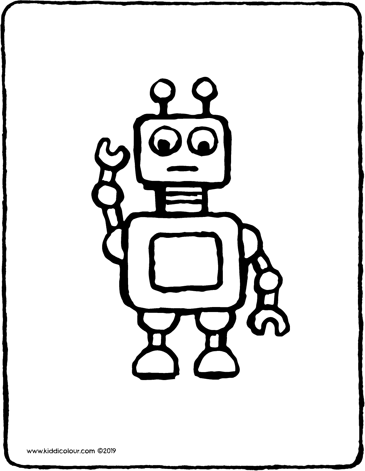 toy robot colouring page drawing picture 01V