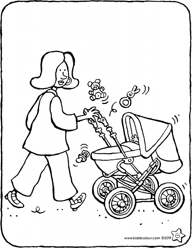 walking with the baby colouring page colouring picture drawing 01V