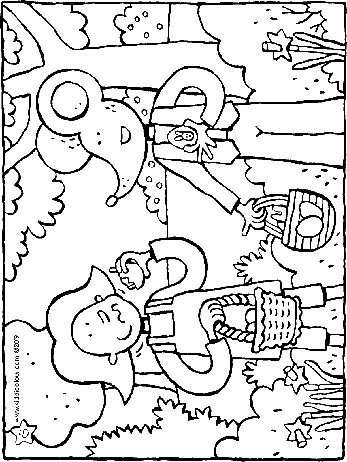 Emma and Thomas's Easter eggs colouring page drawing picture 01H