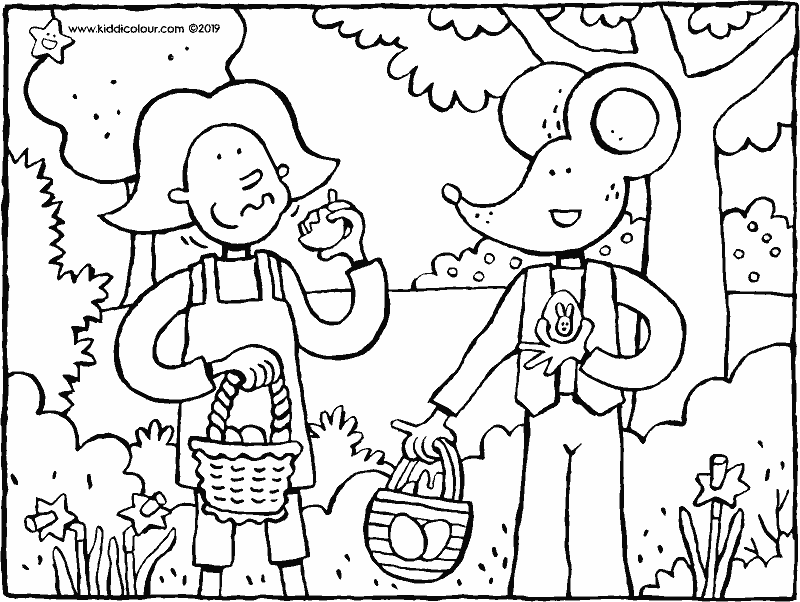 Emma and Thomas's Easter eggs colouring page drawing picture 01k