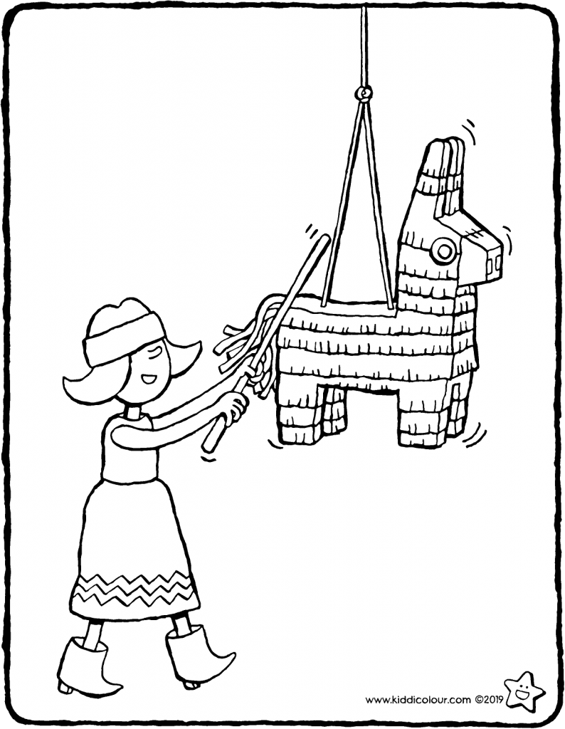 Emma and the piñata colouring page drawing picture 01V