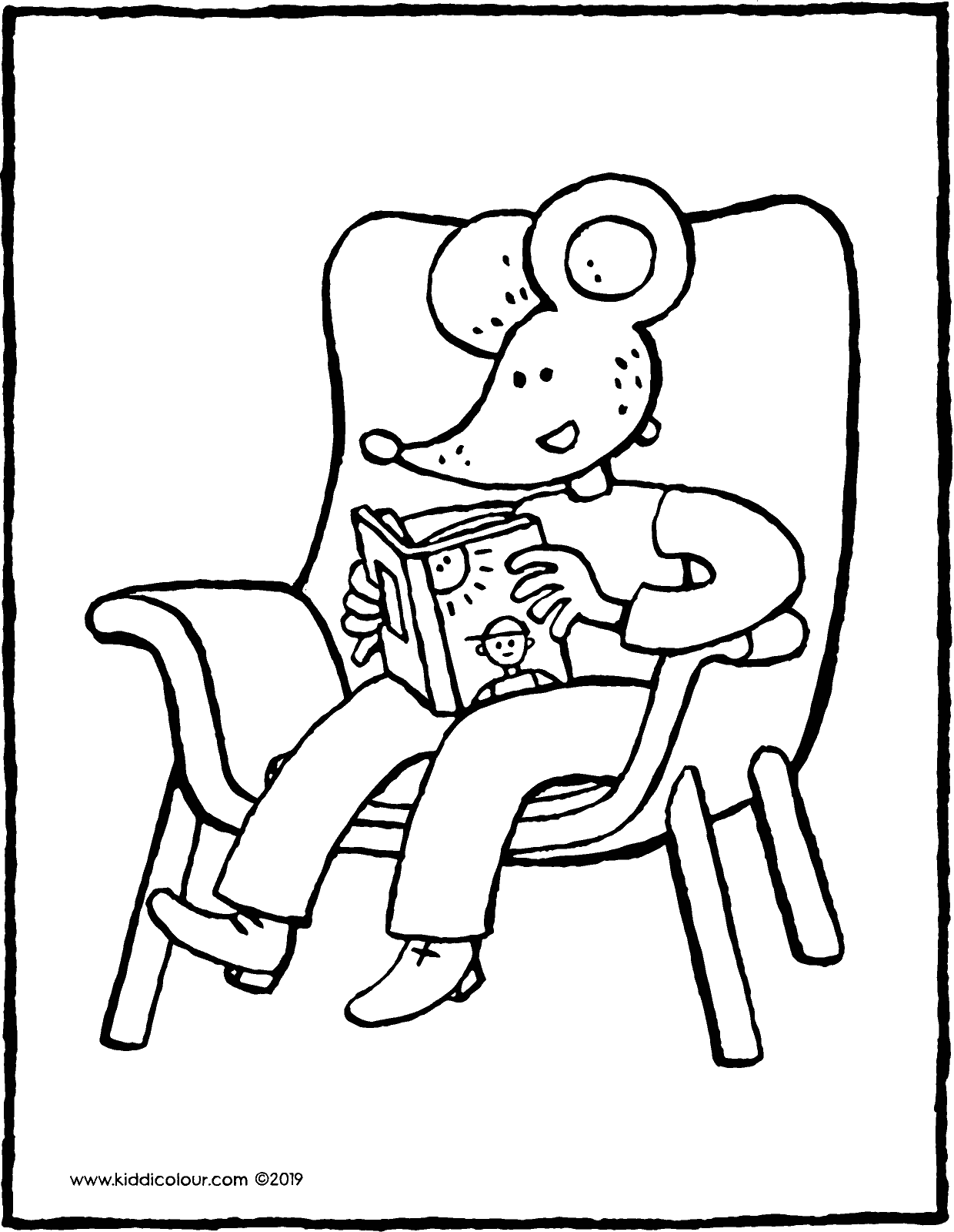 Thomas reads a book on the sofa colouring page drawing picture 01V