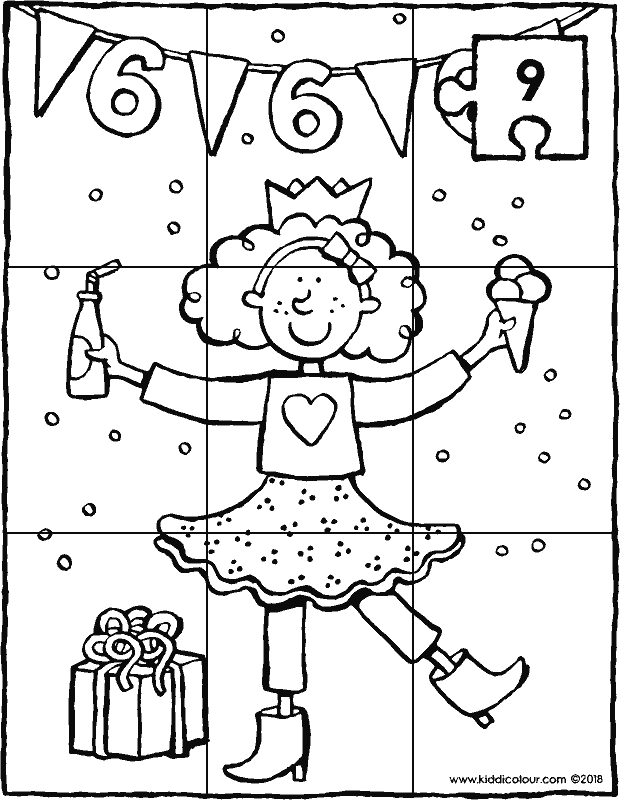 birthday puzzle for 6-year old girl colouring page drawing picture 01k