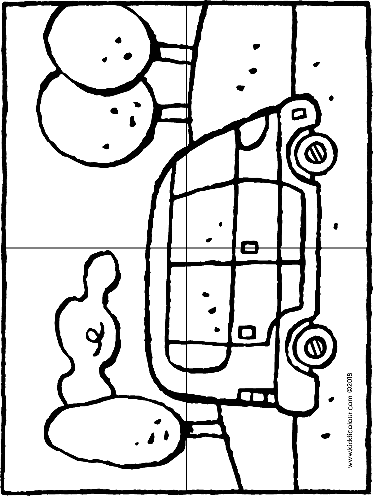 car in the landscape • 4-piece puzzle colouring page drawing picture 01H