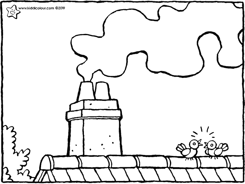 chimney colouring page drawing picture 01k