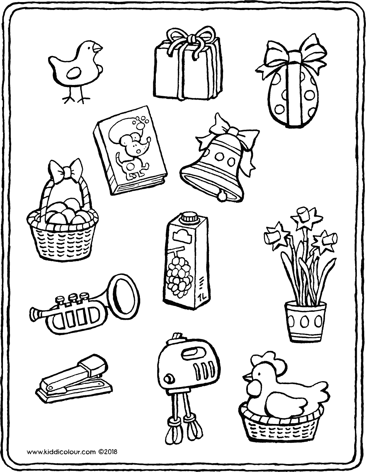 colour in everything related to Easter colouring page drawing picture 01V