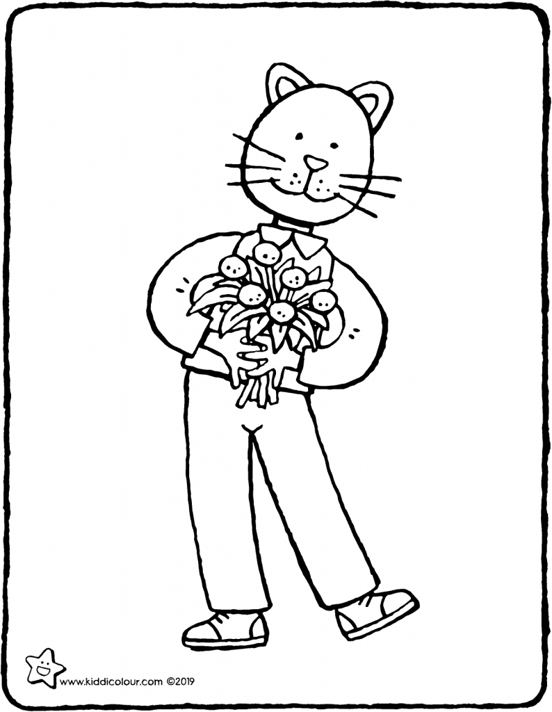 hello…I've brought some flowers for you colouring page drawing picture 01V