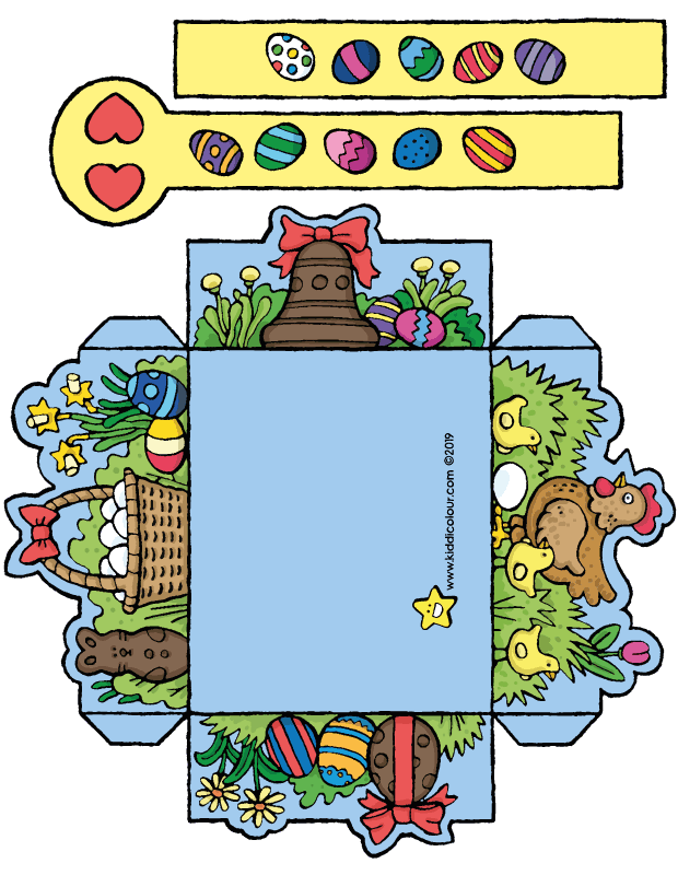 make your own Easter basket for Easter eggs in colour colouring page drawing picture 01k