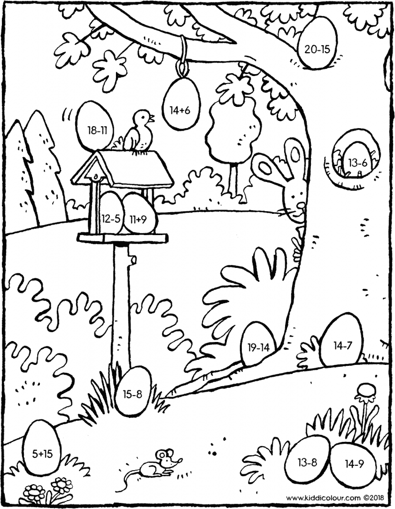 maths game adding and subtracting with Easter eggs colouring page drawing picture 01V