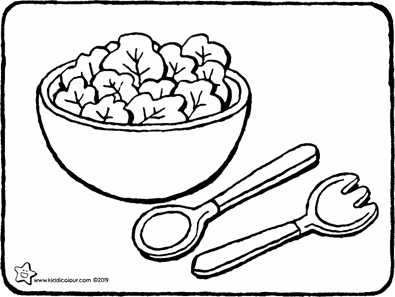 salad bowl colouring page drawing picture 01k