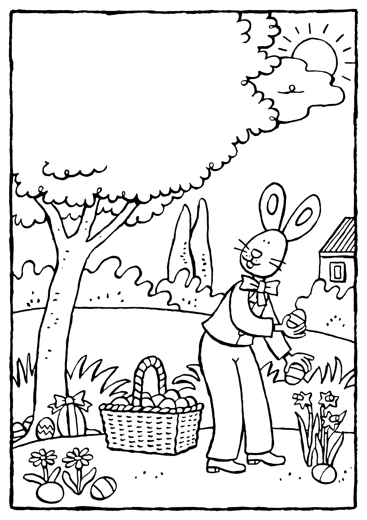 the Easter bunny hides Easter eggs colouring page drawing picture 01V