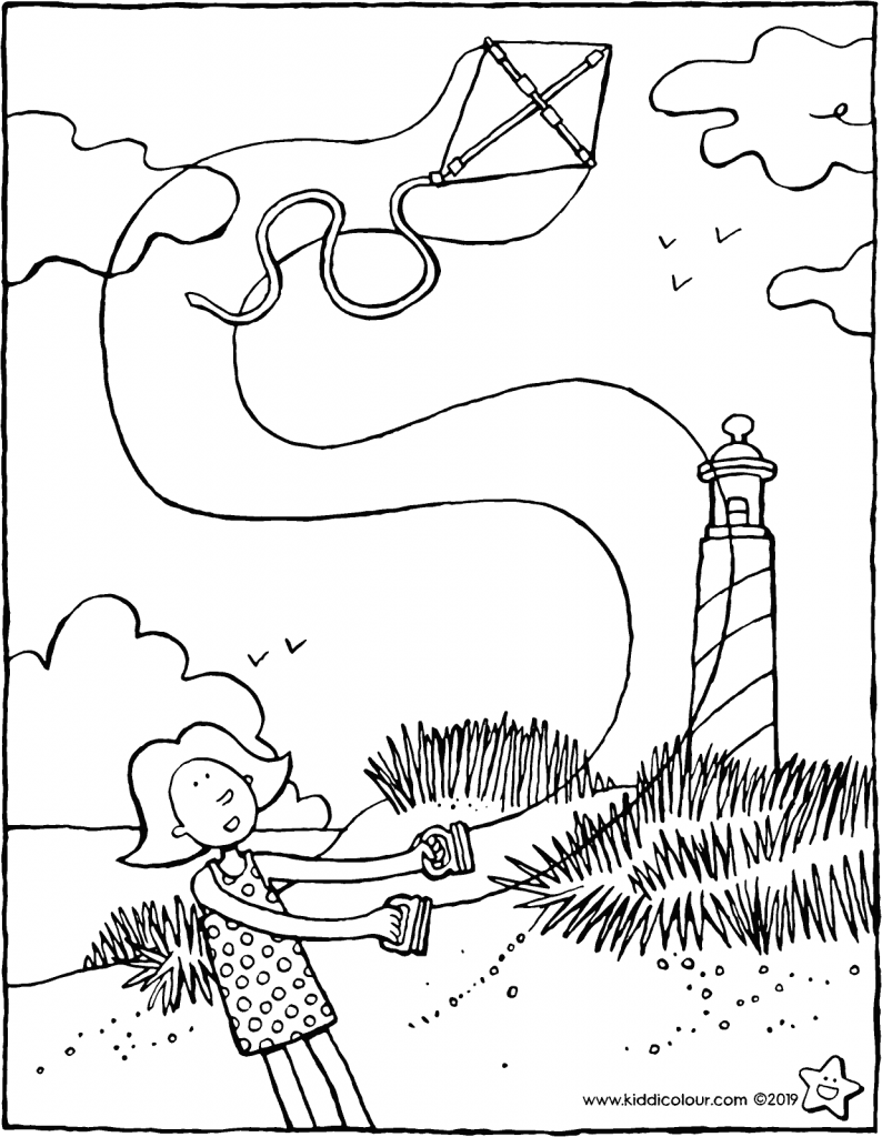 Emma with a kite in the dunes colouring page drawing picture 01V