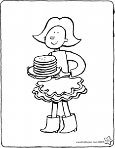 Emma with a plate of pancakes