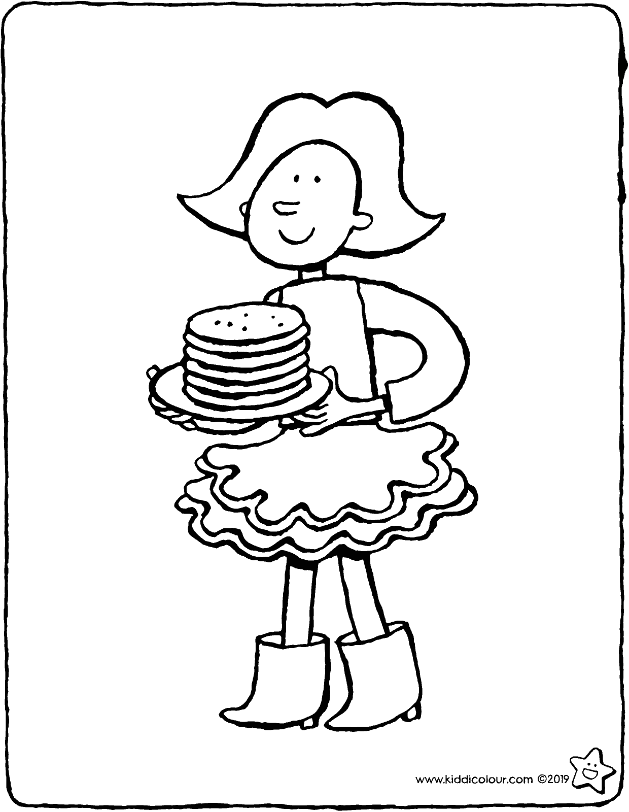 Emma with a plate of pancakes colouring page drawing picture 01V