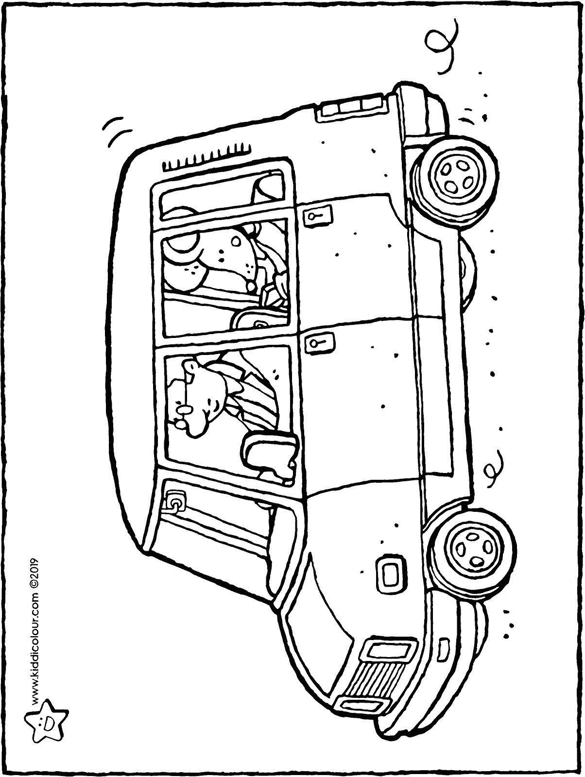 Thomas in the car colouring page drawing picture 01H