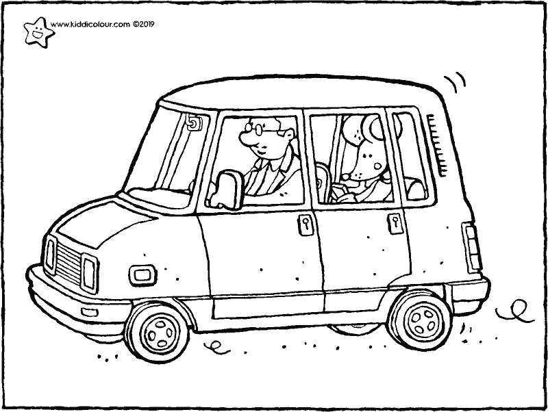 Thomas in the car colouring page drawing picture 01k