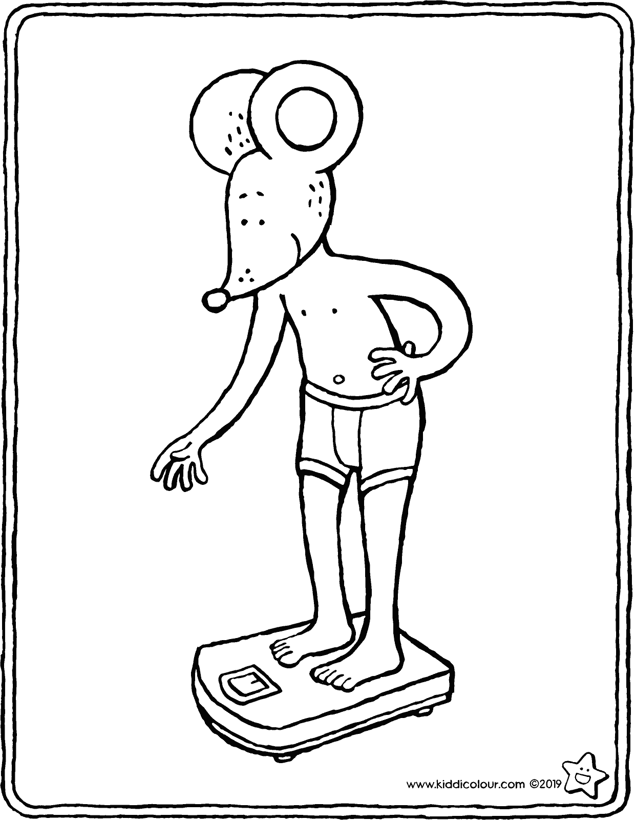 Thomas stands on the scales colouring page drawing picture 01V