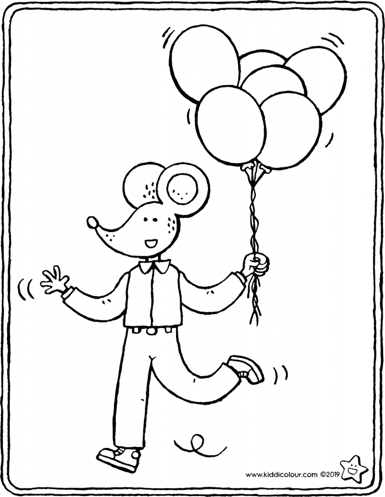 Thomas with balloons colouring page drawing picture 01V