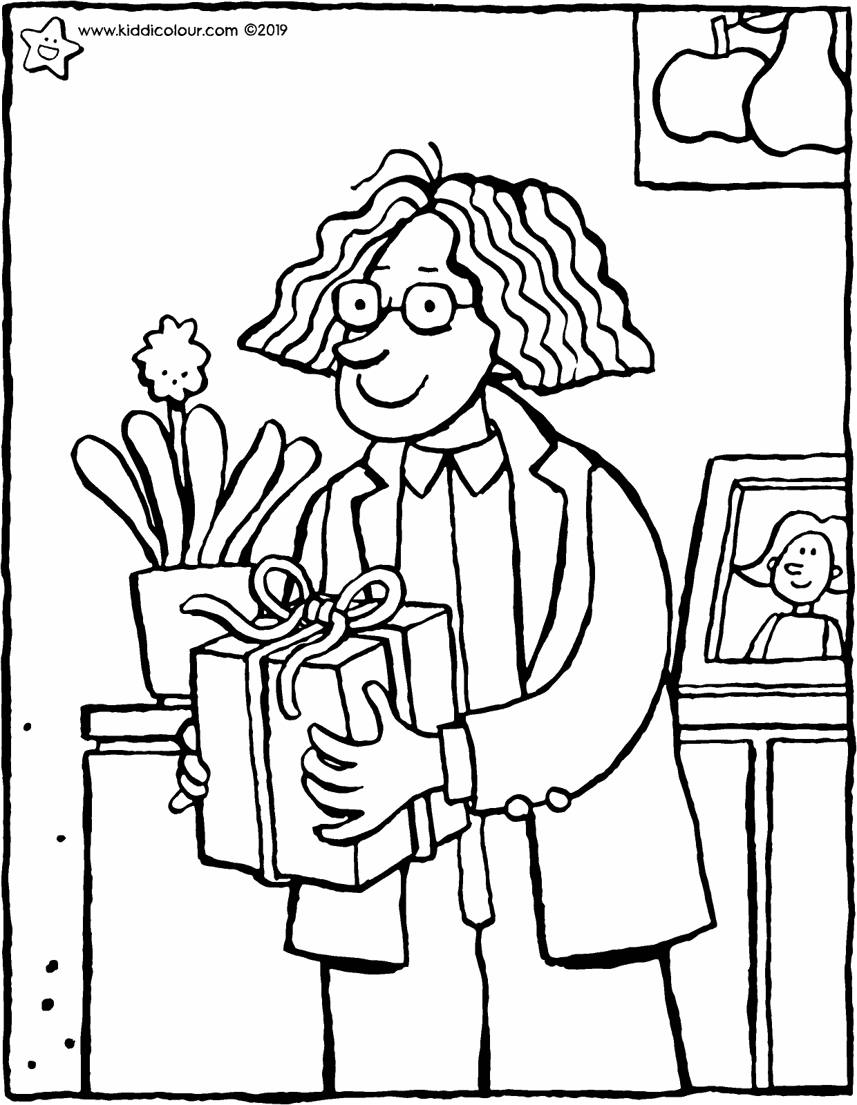 Uncle Paul has a present for your birthday colouring page drawing picture 01V
