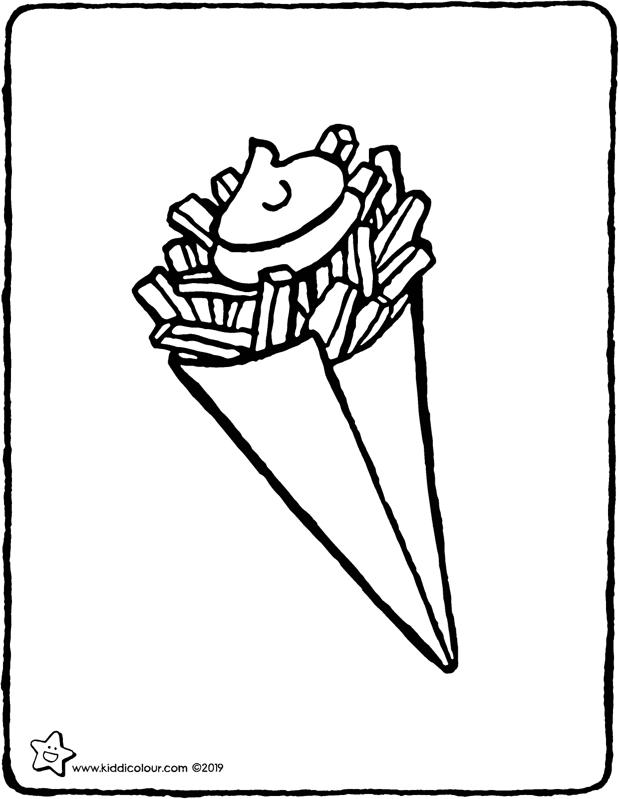 a cone of chips colouring page drawing picture 01V