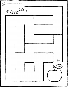 bring the worm to the apple • maze