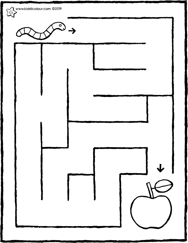 bring the worm to the apple • maze colouring page drawing picture 01V