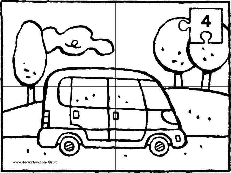 car in the landscape • 4-piece puzzle colouring page drawing picture 01k