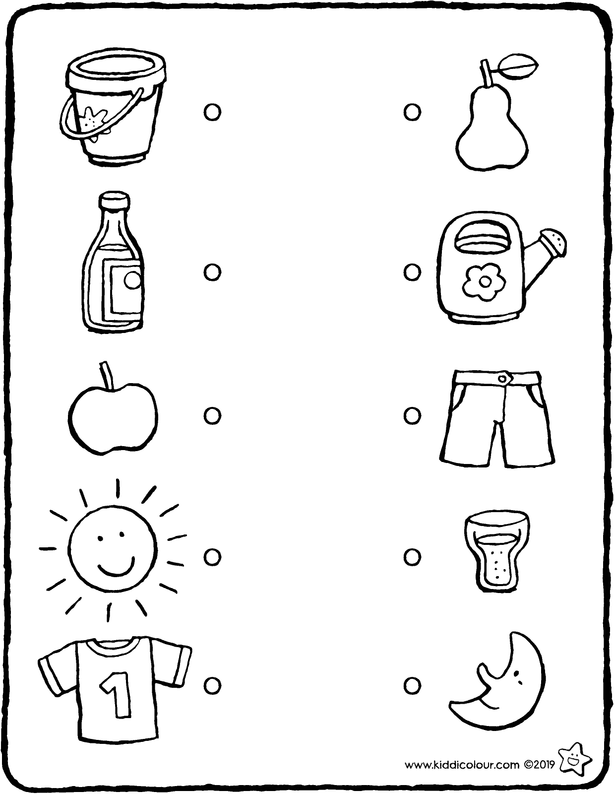 join the objects that fit together (observation exercise) colouring page drawing picture 01V