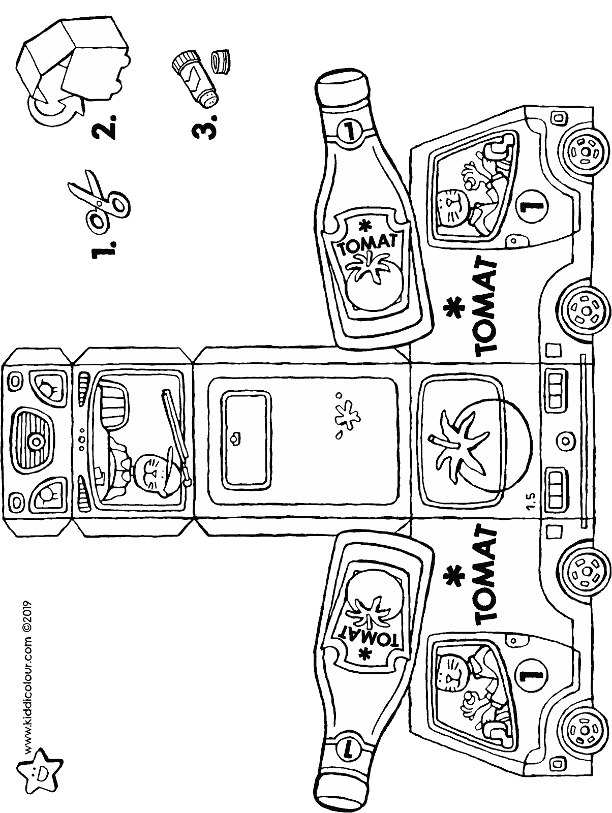 make your own delivery van with ketchup bottle colouring page drawing picture 01H