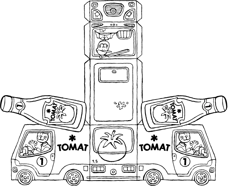make your own delivery van with ketchup bottle colouring page drawing picture 01k