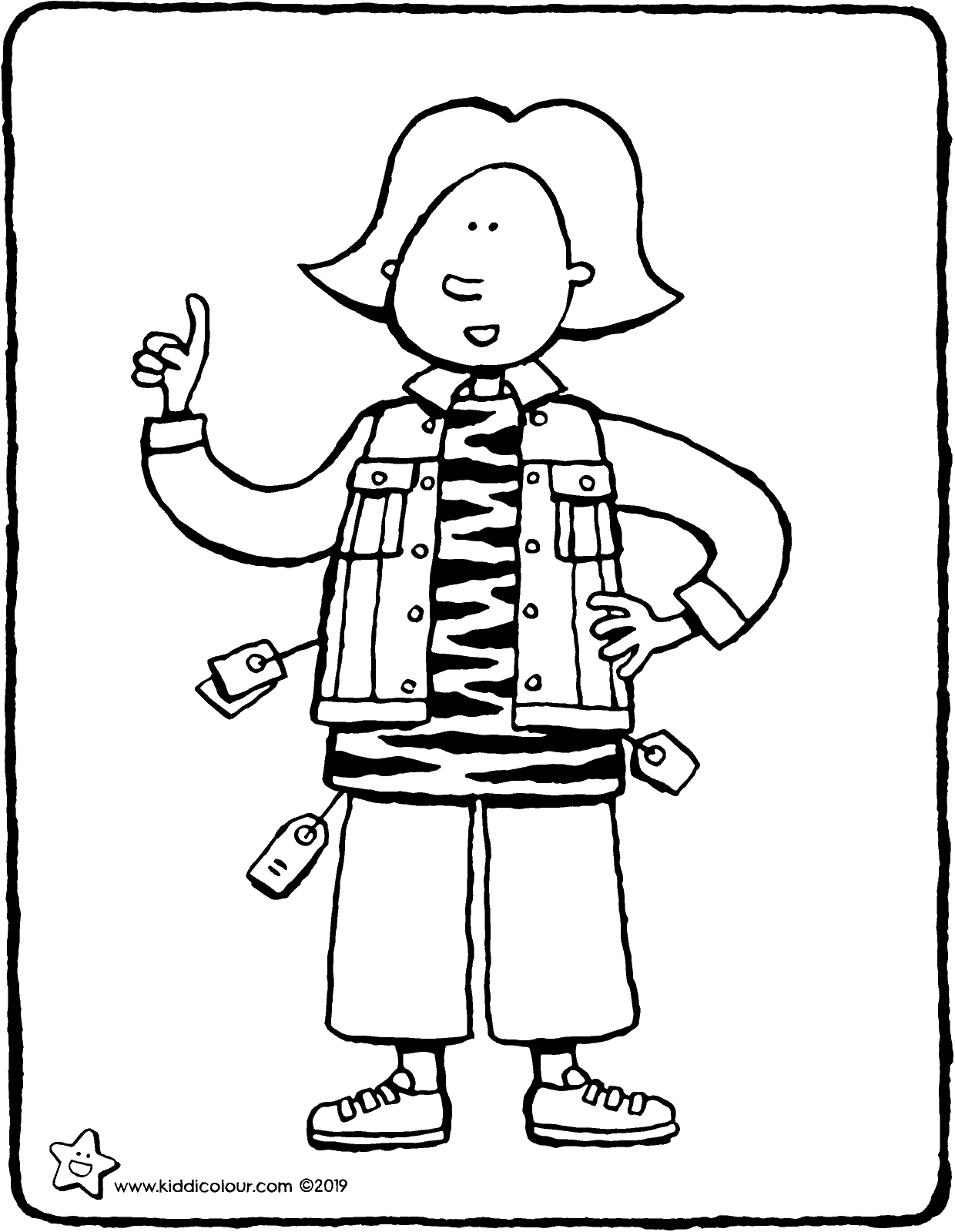 new clothes for Emma colouring page drawing picture 01V