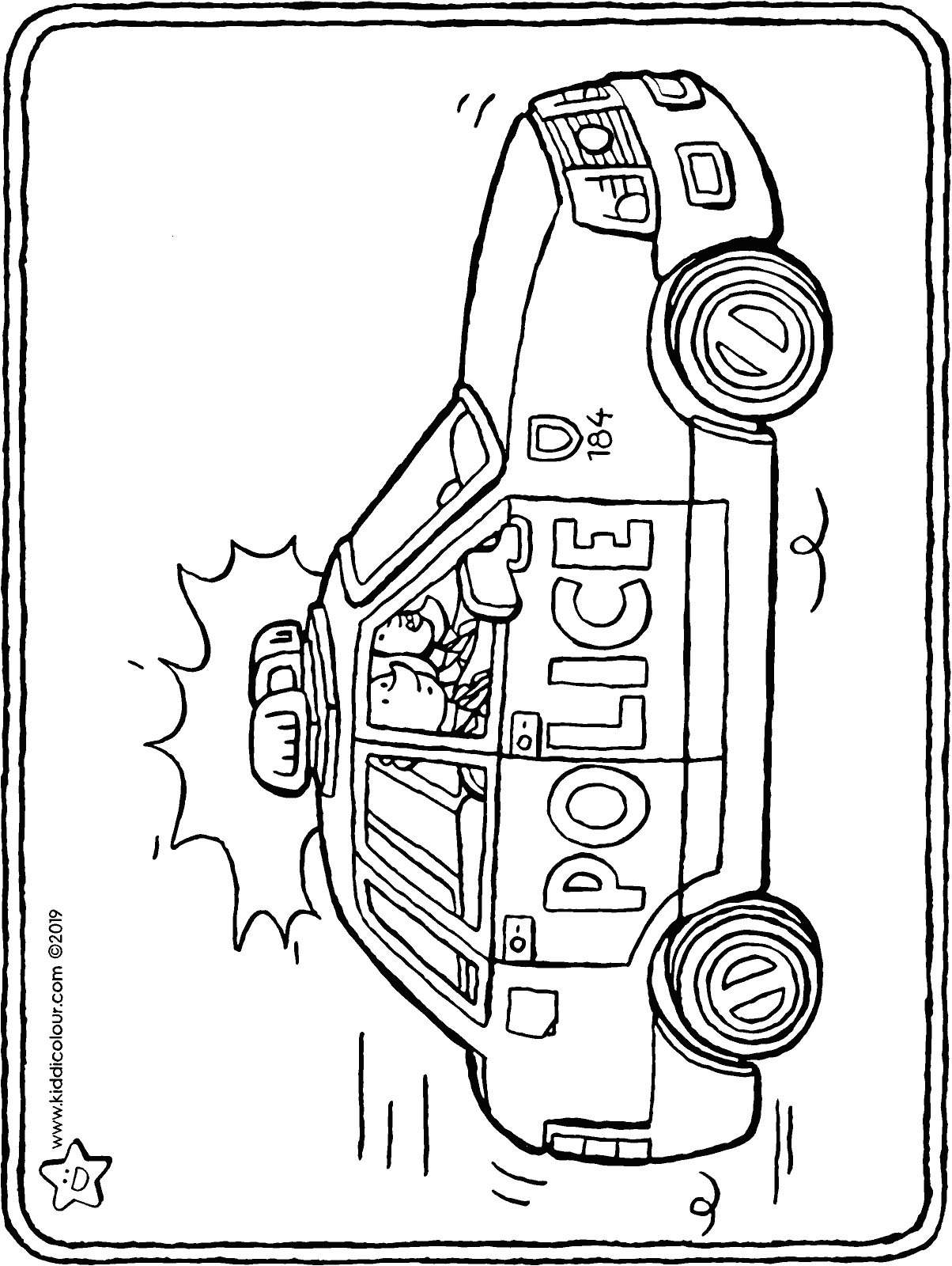 police car colouring page drawing picture 01H