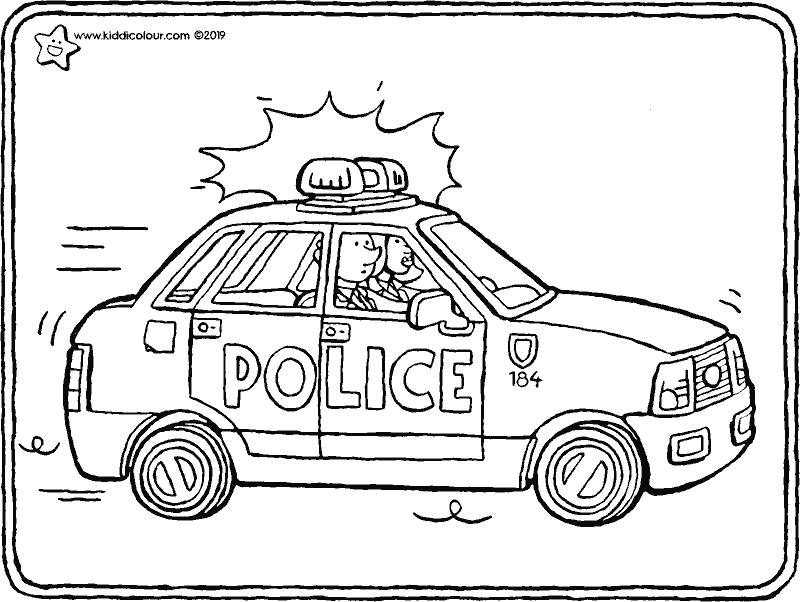police car colouring page drawing picture 01k