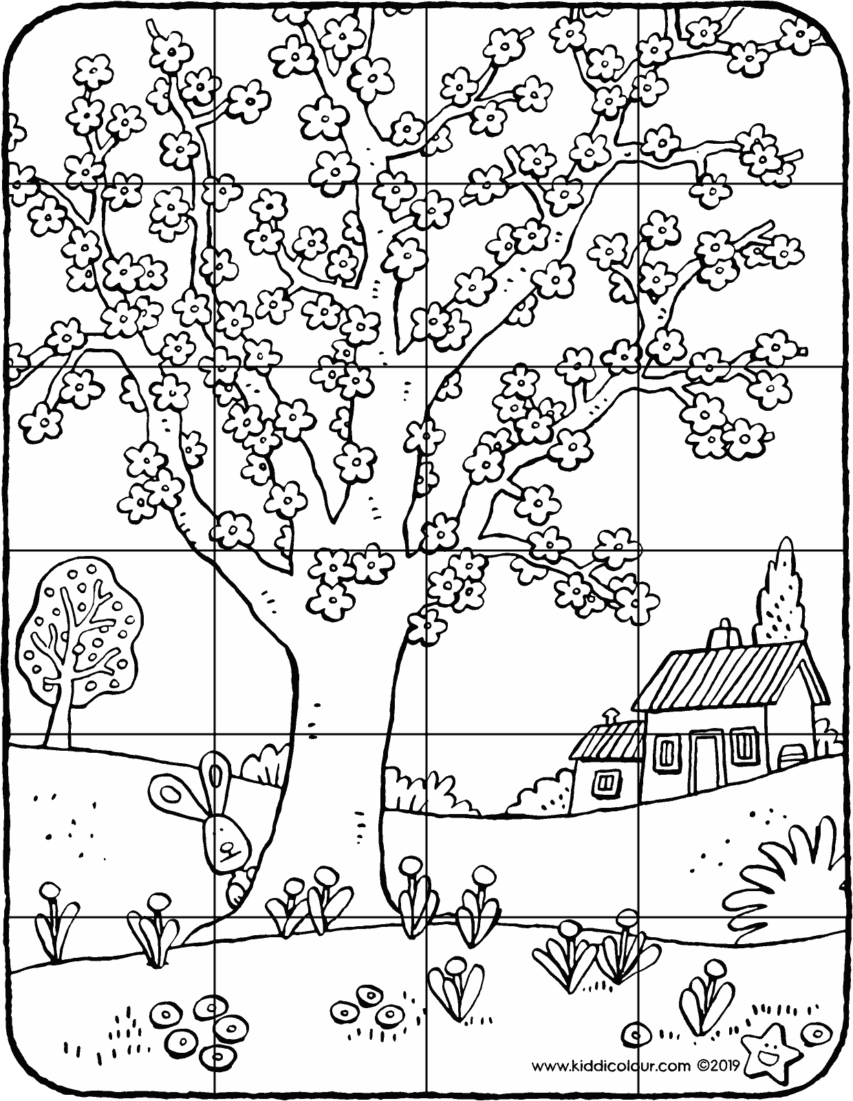 tree in bloom puzzle colouring page drawing picture 01V
