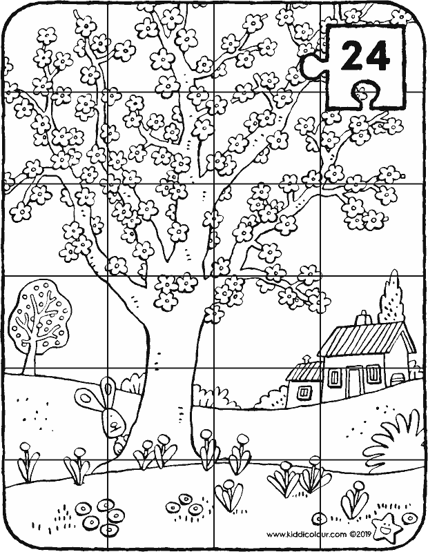 tree in bloom puzzle colouring page drawing picture 01k