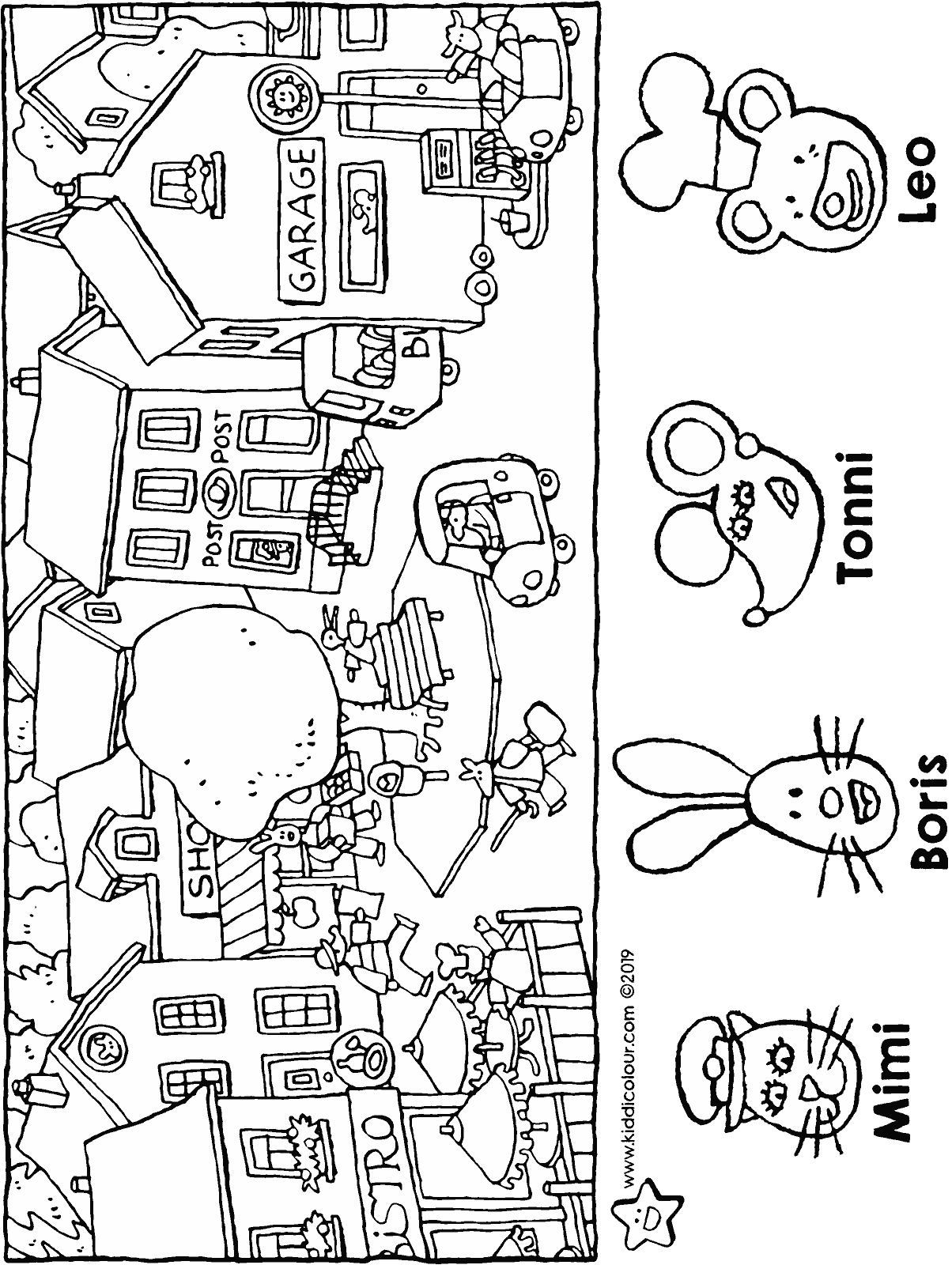 who lives where on the village square • search picture colouring page drawing picture 01H