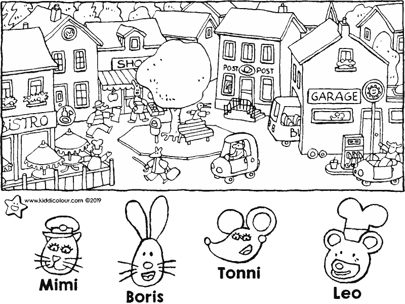 who lives where on the village square • search picture colouring page drawing picture 01k