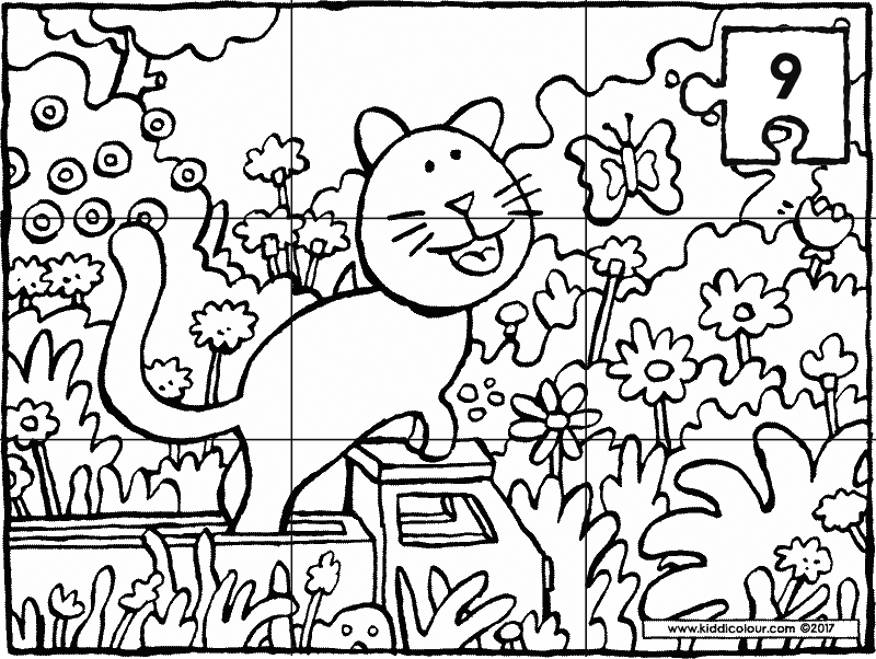 9-piece cat and butterfly puzzle colouring page drawing picture 01k
