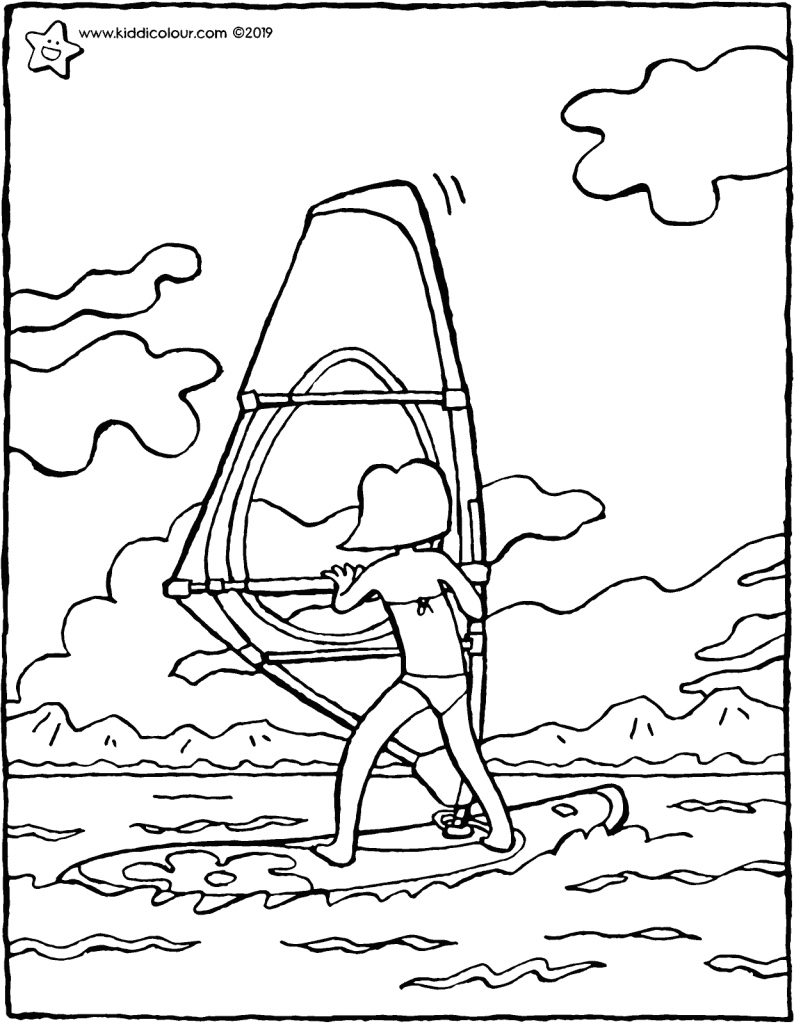 Emma goes windsurfing colouring page drawing picture 01V