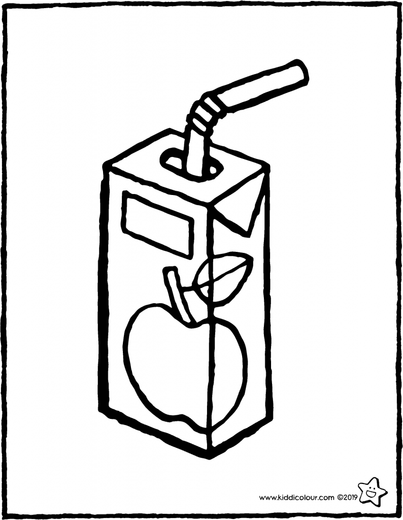 a carton of apple juice colouring page drawing picture 01V