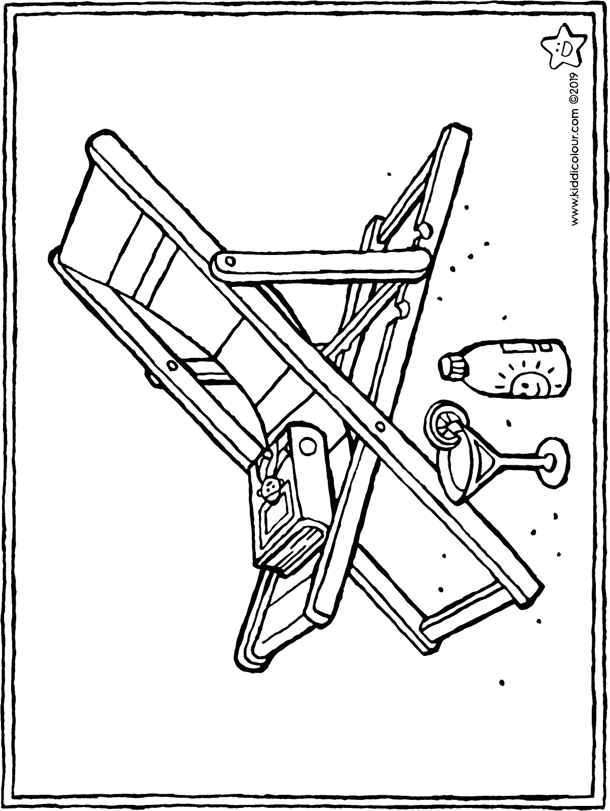 a deckchair colouring page drawing picture 01H