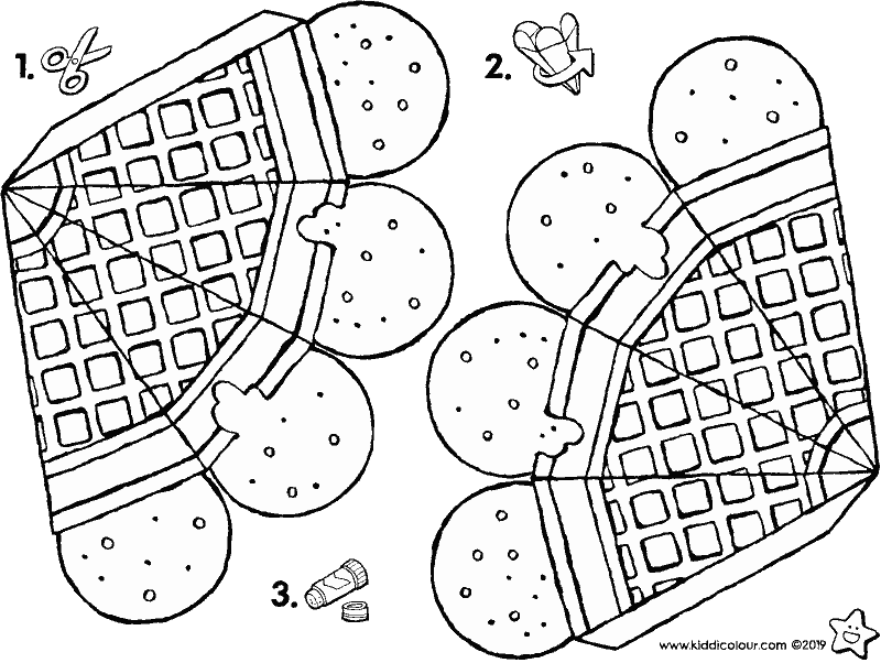 make your own ice cream cones colouring page drawing picture 01K