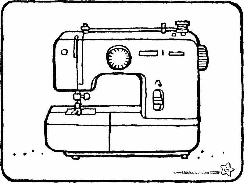 sewing machine colouring page drawing picture 01k