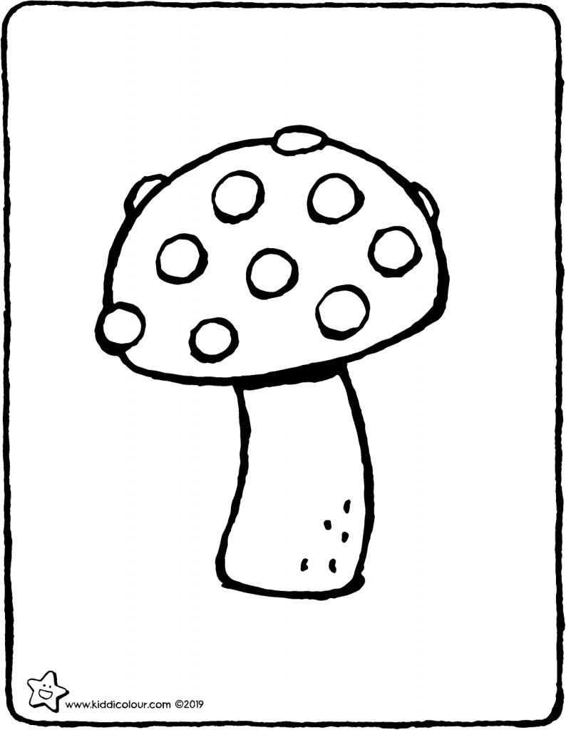 toadstool with spots colouring page colouring picture drawing 01V