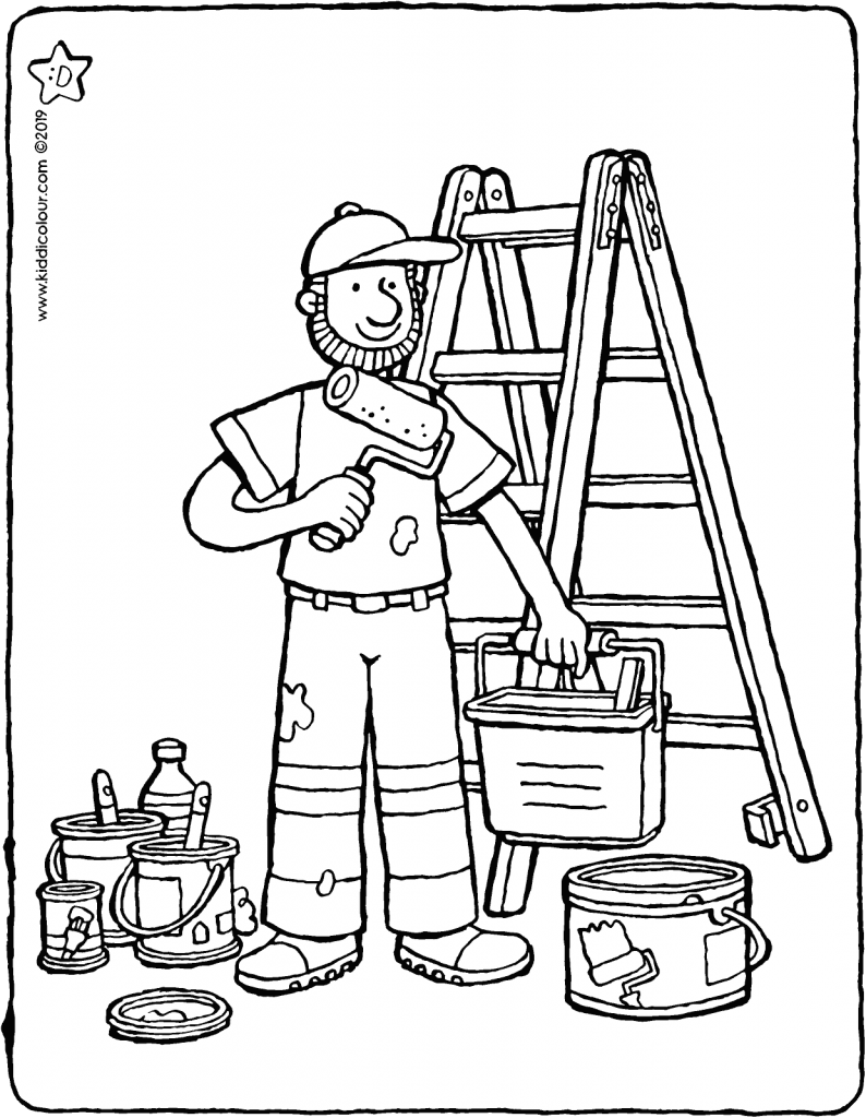 painter colouring page drawing picture 01V