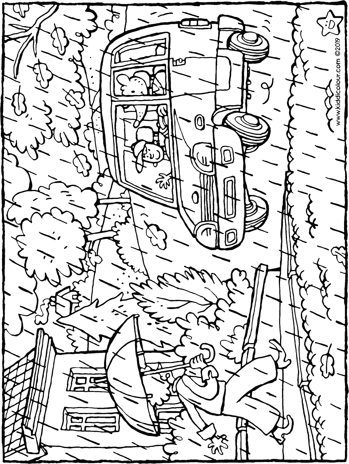 through the wind and the rain - colouring page drawing picture 01H