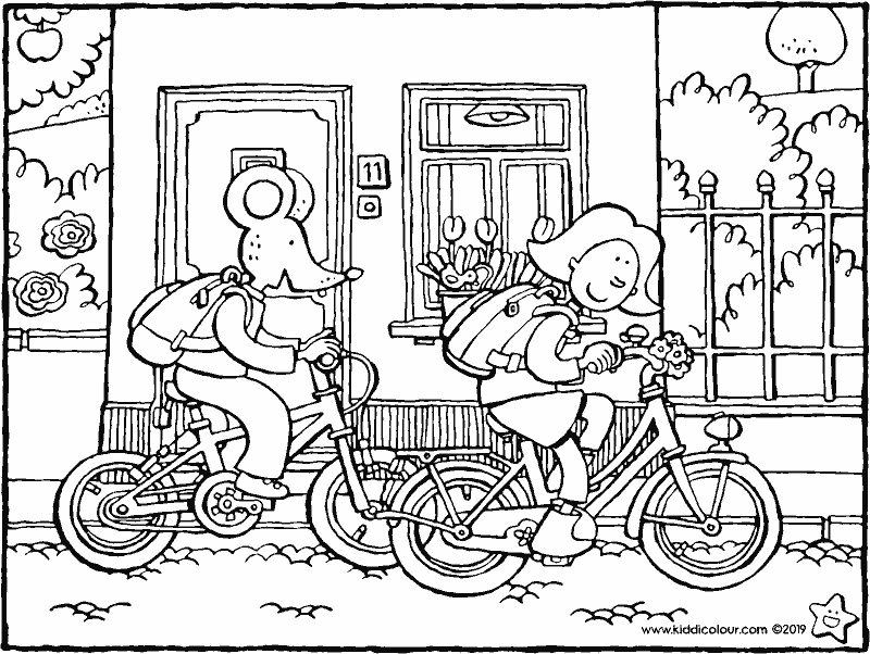 Emma and Thomas cycle to school colouring page drawing picture 01k