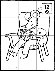 Thomas reading a book in an armchair – 12-piece puzzle